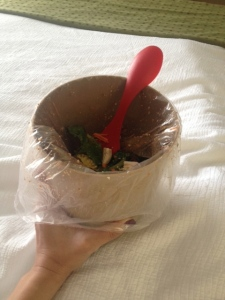 Use the ice bucket, plus liner, for a bowl in your hotel room.